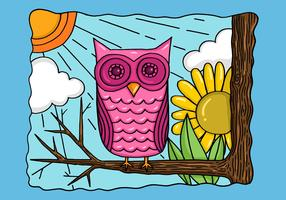Colorful Owl in a Tree Vector