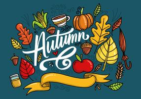 Autumn Leaves Lettering Vector