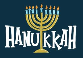 Hanoukka Menorah lettrage vecteur