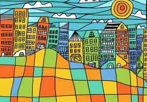 Colorful Block Cityscape Vector