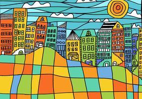 Vetor da paisagem urbana do bloco colorido