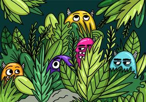 Monsters Hiding in the Jungle Vector