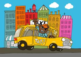 City Bear Taxi Driver Vector