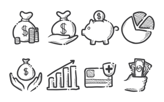 Einnahmen Icons Vektor