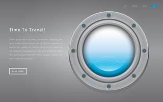 Submarine metal side porthole for underwater. Travel illustration