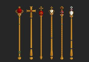 Set Of Golden Sceptre Vector Elements
