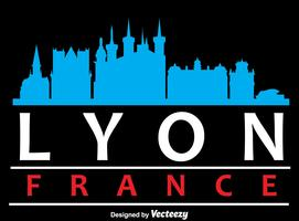 lyon city skyline silhouette vector