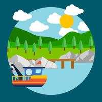 Sea With Boat Background vector