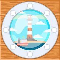 Leuchtturm im Schiffsfenster Hintergrund