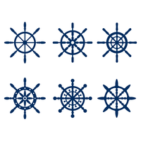 Blue Marine Ships Wheel Silhouette vecteur
