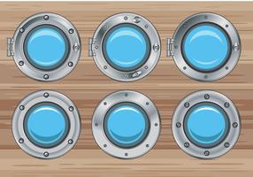 Set Illustration of Silver Window Ship Porthole on Wood Background