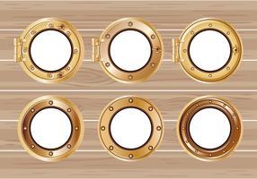 Establecer la ilustración de un ojo de buey de barco de bronce o una nave en el fondo de madera