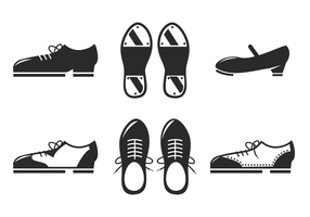 Vettore nero dell'icona delle scarpe del colpetto