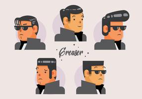 Greaser Style Head Vector Illustratie Platte Karakter
