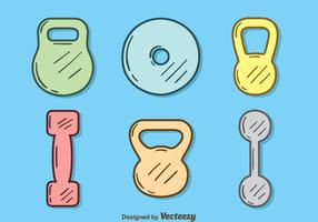 Hand Drawn Gym Equipment Vector