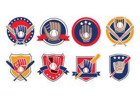 Conjunto de guantes de béisbol con vectores de iconos de bolas