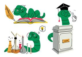 Boek Worm Cartoon Doodle Vector Illustratie
