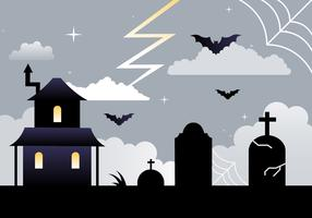 Free Flat Design Vector Halloween Background