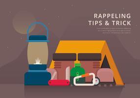 Rappel Werkzeuge und Ausrüstung, Illustration wandernd.