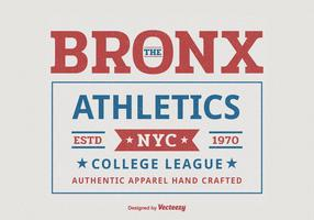 Bronx New York College Atletismo Sport Typography T-Shirt Vector Design