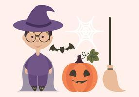 Vector Halloween bruja y calabaza elementos