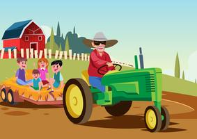 Outdoor Hayride Vector Background