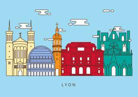 Free Lyon Landmarks Vector Illustration