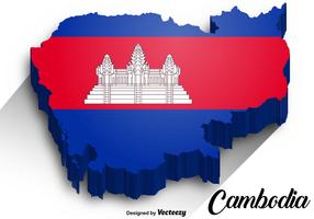 Vector Cambodia Map with Cambodian Flag