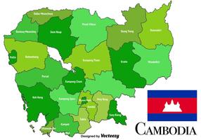Carte du Cambodge vecteur