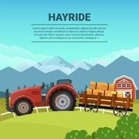 Hayride in Farm Flat Vector Illustration