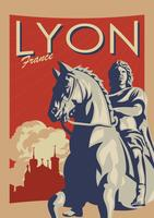 Vector de cartel Vintage Lyon Francia
