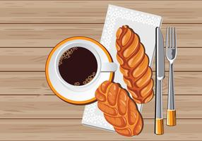 Freshly Baked Challah Loaf with Coffee vector