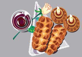 Shabbat Shalom. Bougies, coupe de Kiddouch et Challah