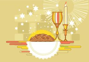 Shabbat Image with Challah Bread Vector