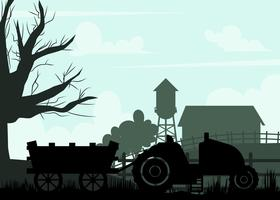 Silhouette Of Hayride on a Farm Vector
