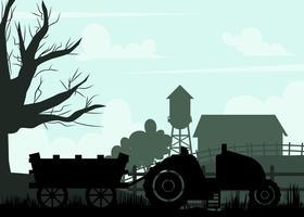 Silhouet Van Hayride Op Een Farm Vector