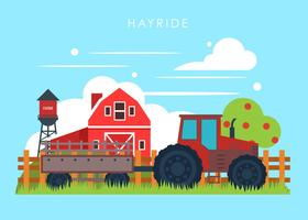 Hayride on A Farm Vector