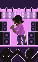 James Brown Singing Flat Illustration Vector