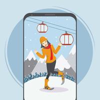 Free Woman in Snowshoes Illustration