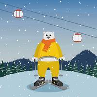 Vrije Beer Karakter Draken Sneeuwschoenen Illustratie