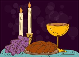 Illustration Of Shabbat Candles, Kiddush Cup And Challah