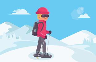 Young Man Snowshoeing In Wilderness vector