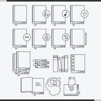 Libro Linie Icon Set Vektor