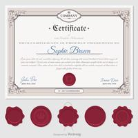 Retro Certificate With Wax Seals Vector Template