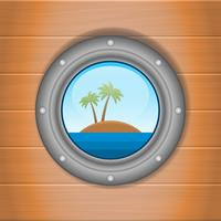 Porthole Overlooking The Sea And The Island Illustration