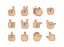 Pack de vectores gestos de las manos
