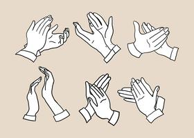Mano, aplaudir, mano, dibujado, vector
