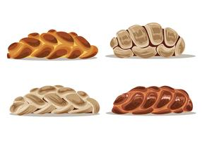 Set of Illustration of Homemade Challah Bread