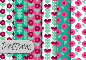 Conjunto de padrões florais geométricos