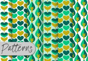 Green Geometric Floral Pattern Set